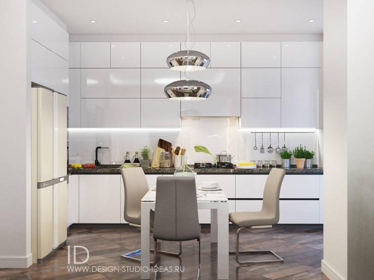 Красота белого в гостиной и кухне: Кухни в . Автор – Студия дизайна Interior Design IDEAS