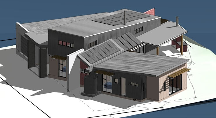 3D View Northeast:  Houses by Architects Unbound (Pty) Ltd.
