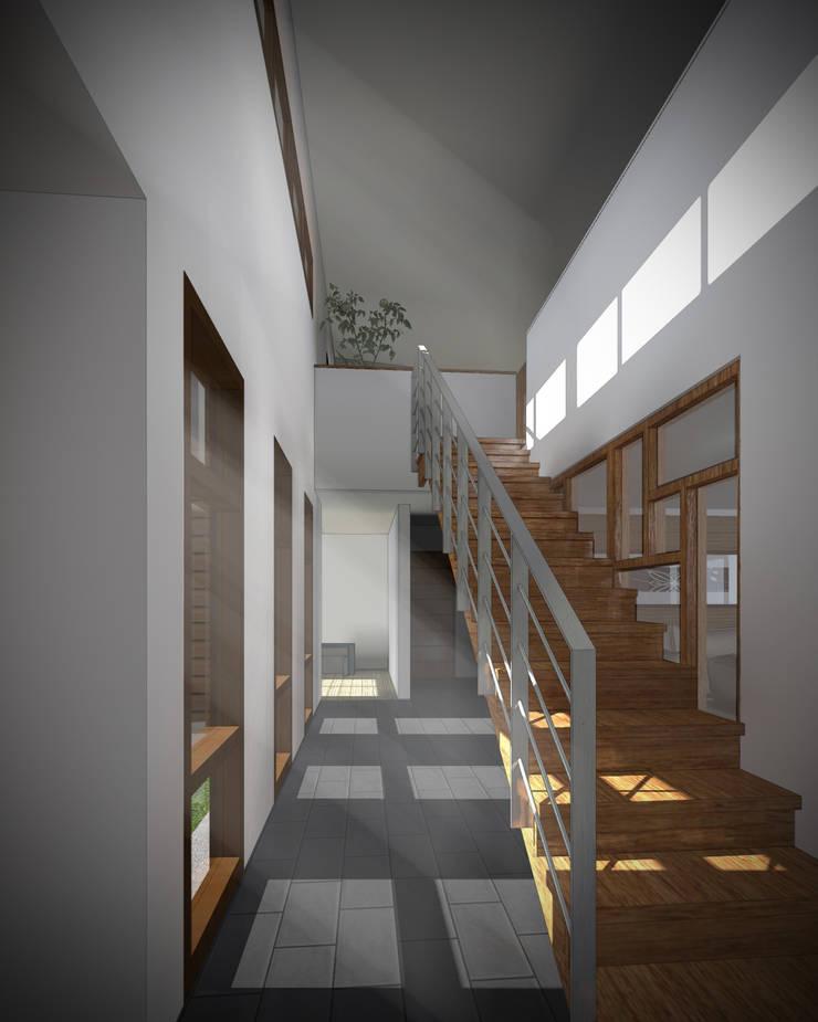 CASA NS: Pasillos y hall de entrada de estilo  por EjeSuR Arquitectura