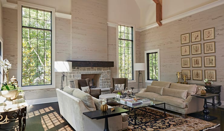 French Normandy Indian Springs Home:  Living room by Christopher Architecture & Interiors