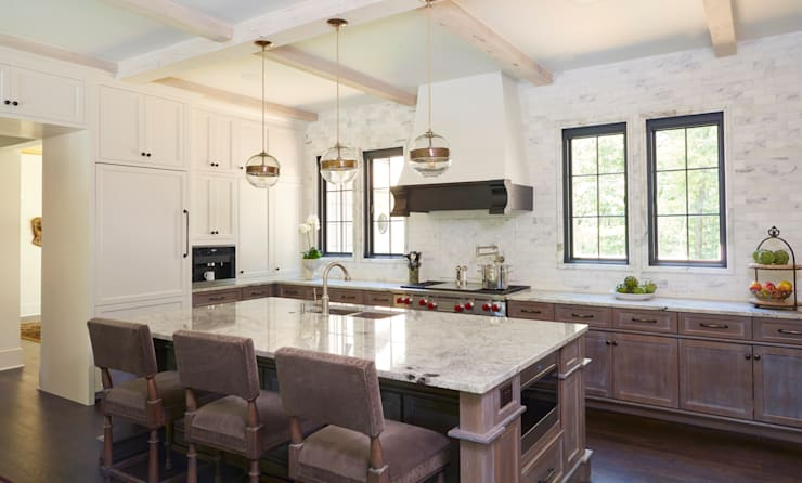 French Normandy Indian Springs Home:  Kitchen by Christopher Architecture & Interiors