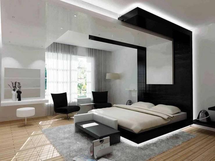 غرفة نوم:  غرفة نوم تنفيذ القصر للدهانات والديكور,