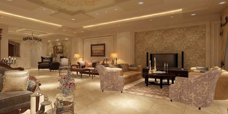 غرفة المعيشة :  غرفة المعيشة تنفيذ القصر للدهانات والديكور