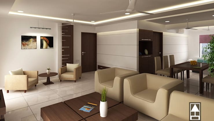 MODERN LIVING DESIGN: modern Living room by ABHISHEK DANI DESIGN
