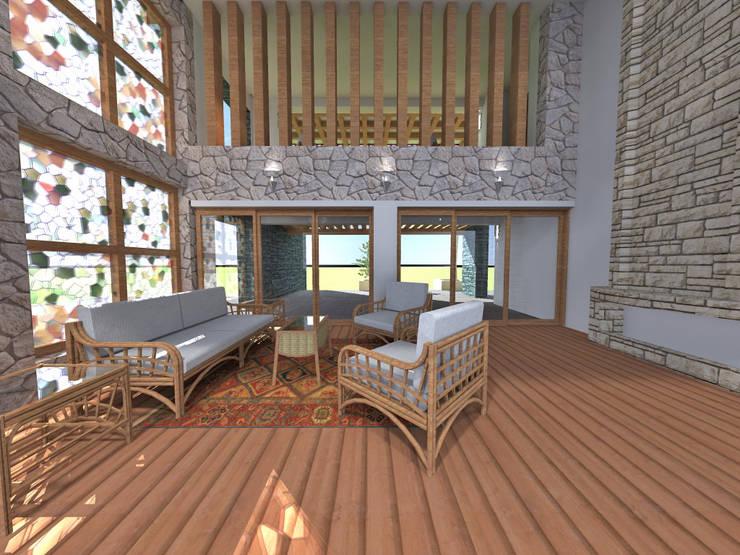 Estar recibidor: Salas / recibidores de estilo  por ROQA.7 ARQUITECTOS