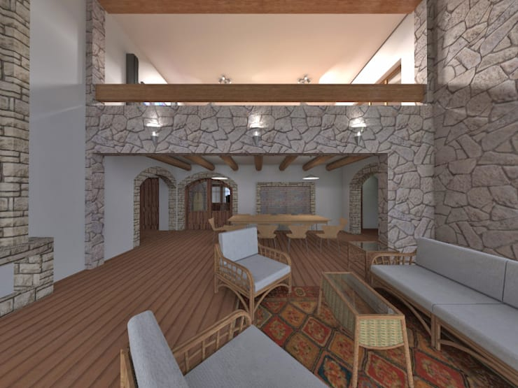 Estar recibidor doble altura: Salas / recibidores de estilo  por ROQA.7 ARQUITECTOS