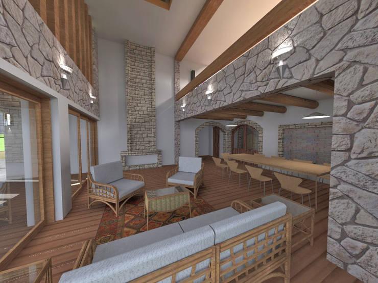 Estar recibidor - vista al comedor: Salas / recibidores de estilo  por ROQA.7 ARQUITECTOS