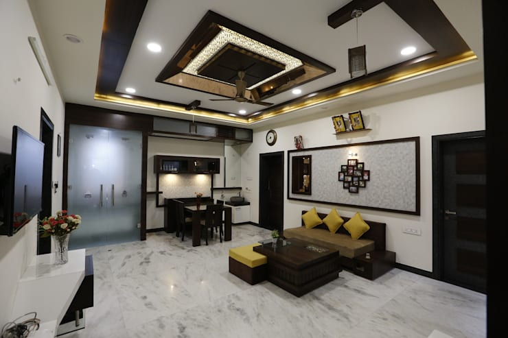 Living  lobby Area:  Dining room by RAVI - NUPUR ARCHITECTS