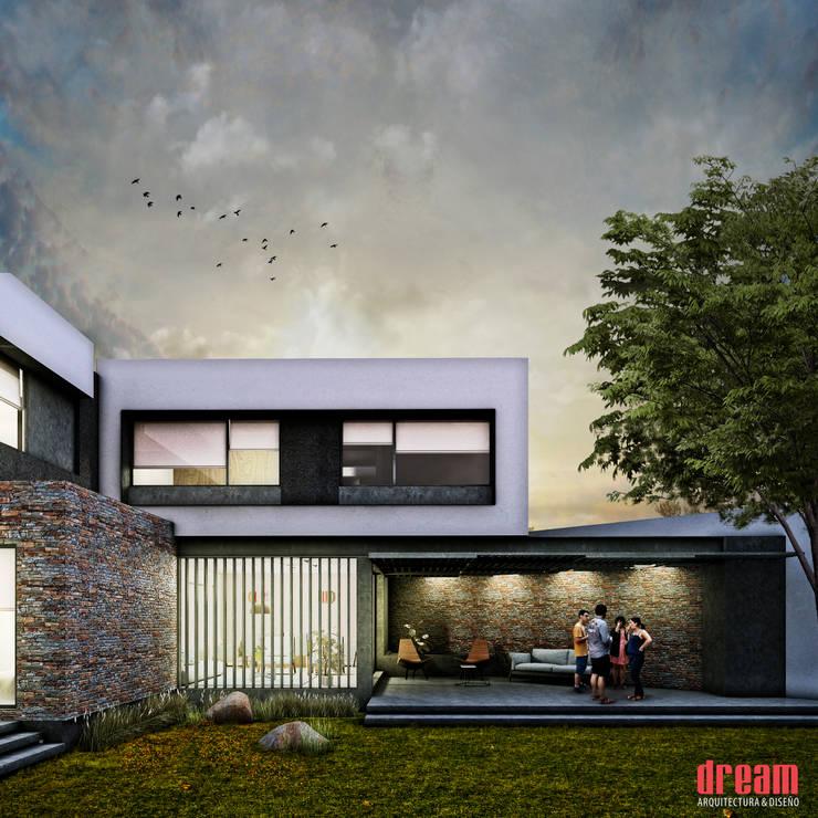VISTA POSTERIOR -TERRAZA: Terrazas de estilo  por Estudio Meraki