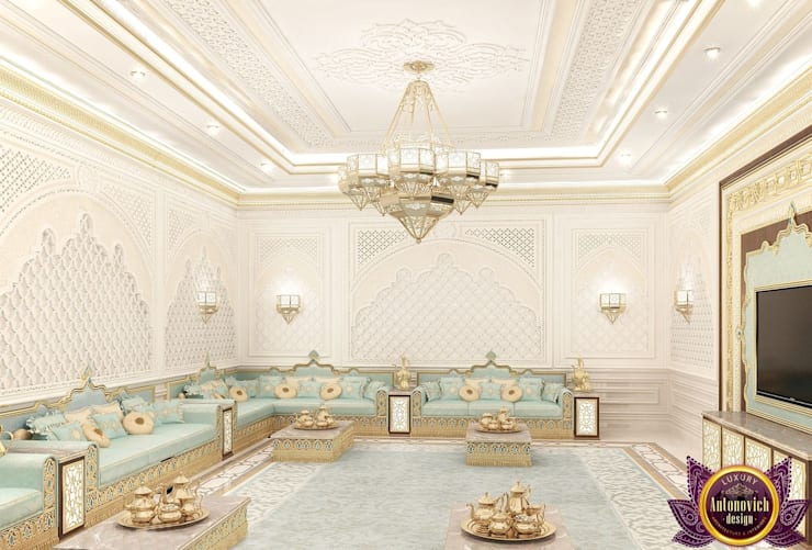 Majlis interior design of Katrina Antonovich:  Living room by Luxury Antonovich Design
