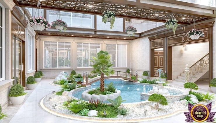 Interior the swimming pool of Katrina Antonovich:  Spa by Luxury Antonovich Design