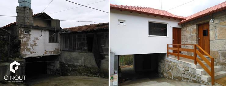 Reabilitação Total de Moradia :   por CINOUT - Obras, Design e Manutenção Lda.