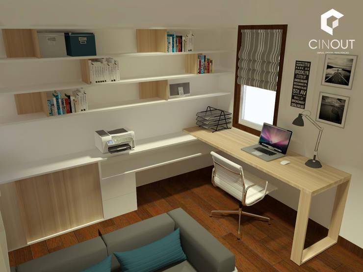 Escritório Apartamento: Escritório  por CINOUT - Obras, Design e Manutenção Lda.