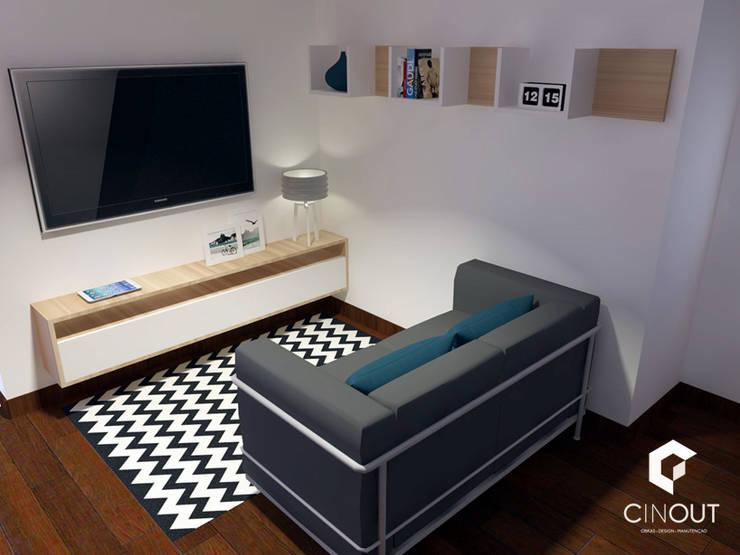 Escritório Apartamento: Salas de estar  por CINOUT - Obras, Design e Manutenção Lda.