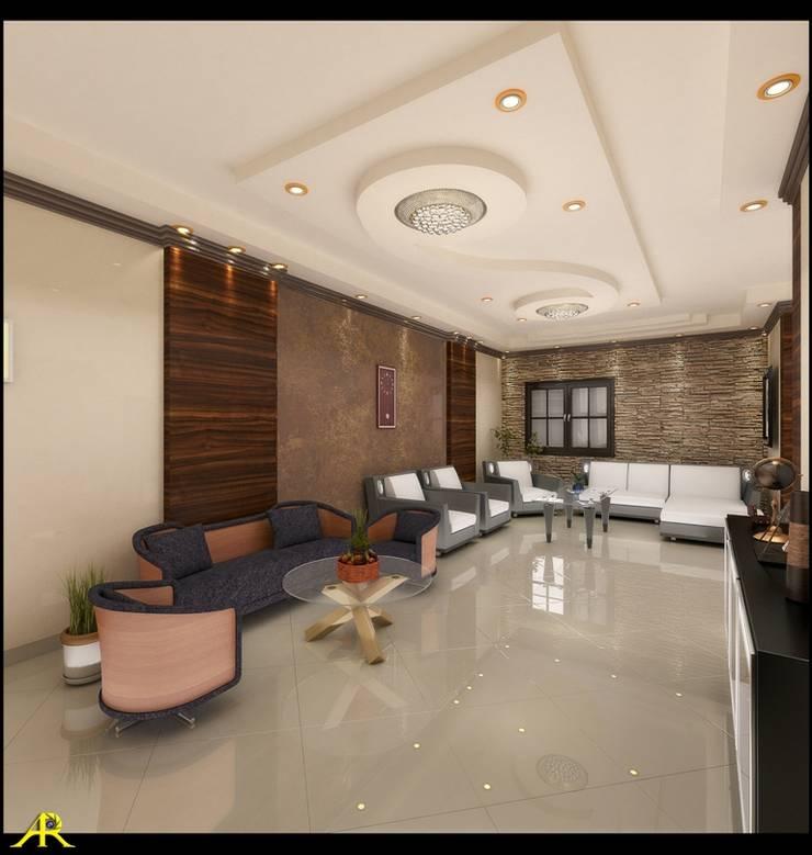 شقة بتصميم مصري:  غرفة المعيشة تنفيذ Etihad Constructio & Decor,