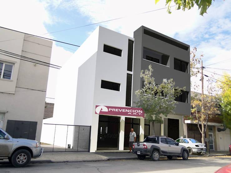 Edificio de Oficina y vivienda: Estudios y oficinas de estilo  por Lineasur Arquitectos