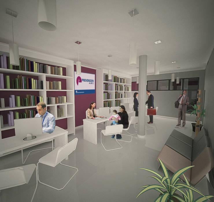 Edificio de Oficina y vivienda-interior oficina: Estudios y oficinas de estilo  por Lineasur Arquitectos