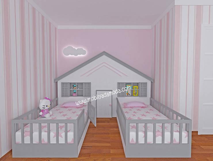 MOBİLYADA MODA  – İkiz Bebek Montessori Odası:  tarz Kız çocuk yatak odası, Modern Ahşap Ahşap rengi
