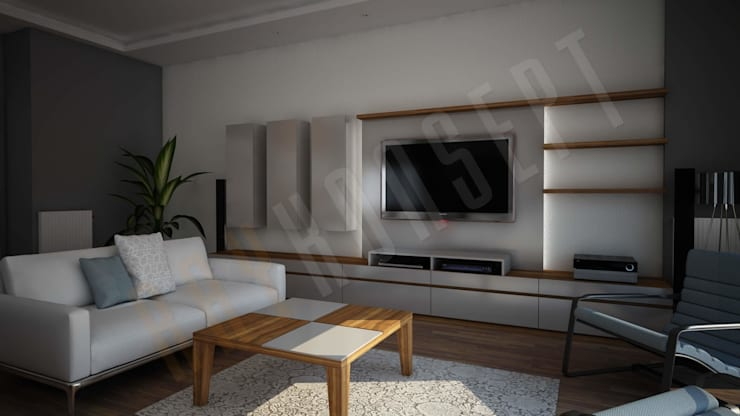 RayKonsept – Beyaz Tv Ünitesi:  tarz Oturma Odası,