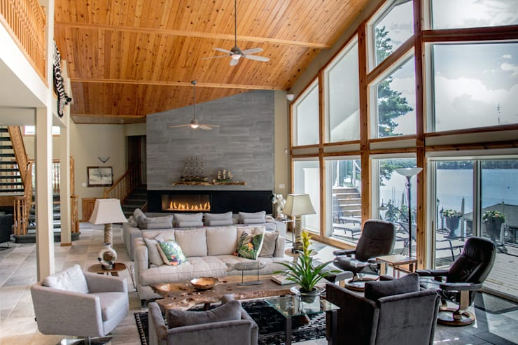 Lake of the woods cottage family room:  Living room by Unit 7 Architecture