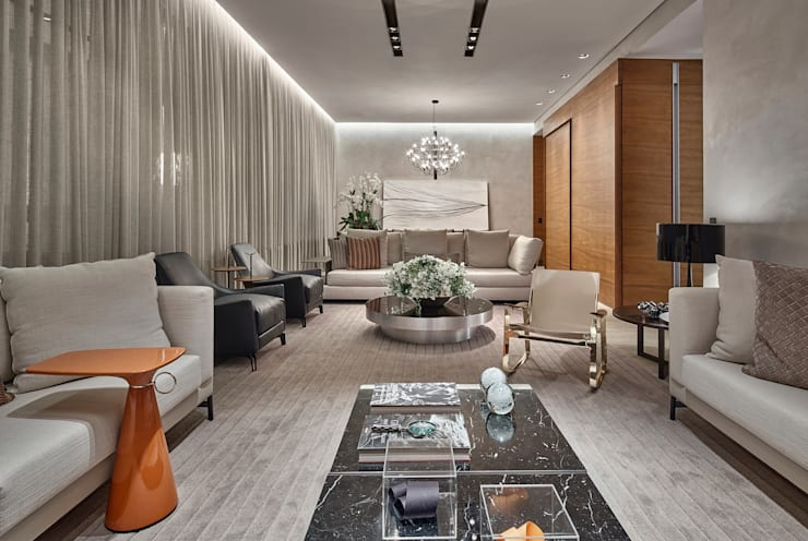 Living room by Alessandra Contigli Arquitetura e Interiores