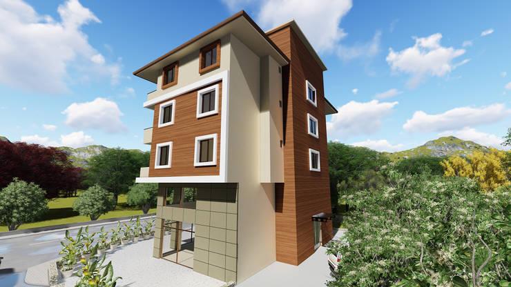 Kesit Mimarlık – Sürül İnşaat Dış Cephe Tasarımı:  tarz Evler, Modern Ahşap-Plastik Kompozit
