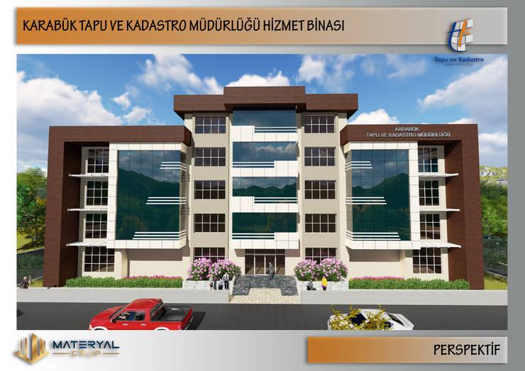 Kesit Mimarlık – Karabük Tapu Kadastro Binası Dış Cephe Tasarımı:  tarz Ofis Alanları, Modern Ahşap-Plastik Kompozit