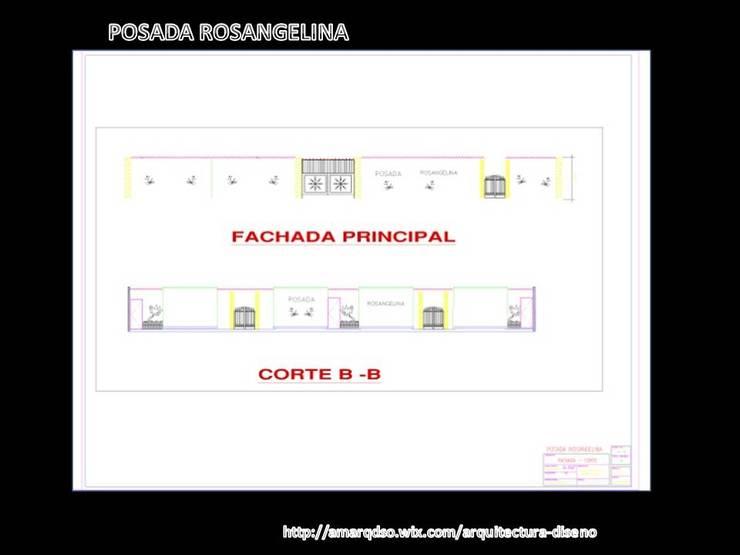 Planos Autocad Posada Rosangelina:  de estilo  por A.M. ARQUITECTURA +DISEÑO