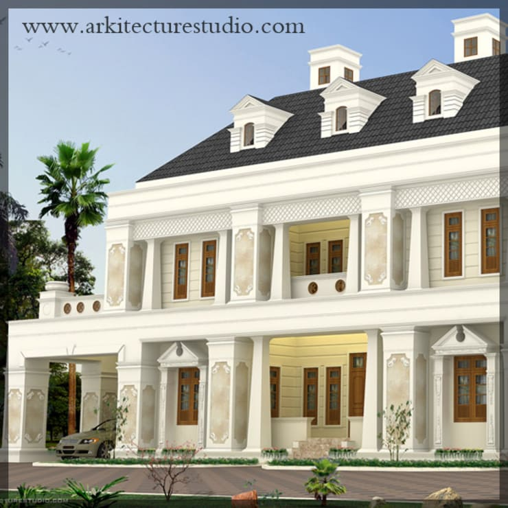 colonial style luxury indian home design:  Houses by Arkitecture studio,Architects,Interior designers,Calicut,Kerala india,Colonial
