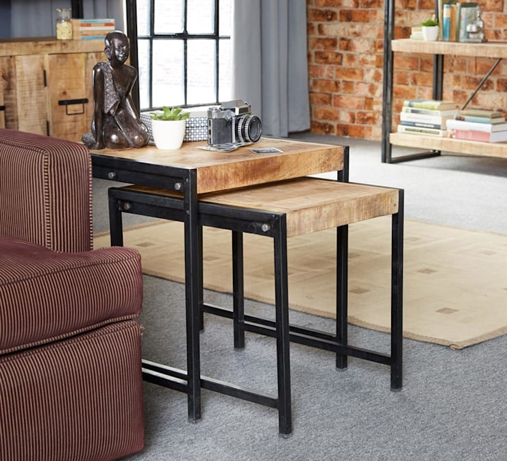 Cosmo Cart Industrial Table Nest:  Living room by Industasia