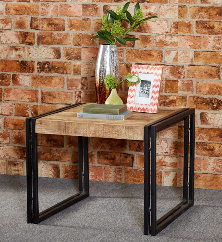 Cosmo Cart Industrial Table:  Living room by Industasia