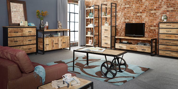 Cosmo Cart Industrial Coffee Table:  Living room by Industasia