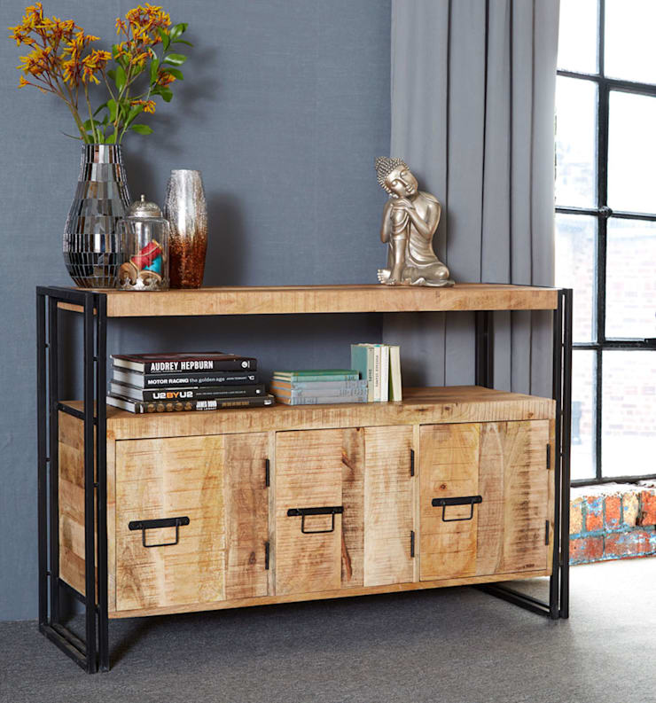 Cosmo Industrial Sideboard:  Living room by Industasia