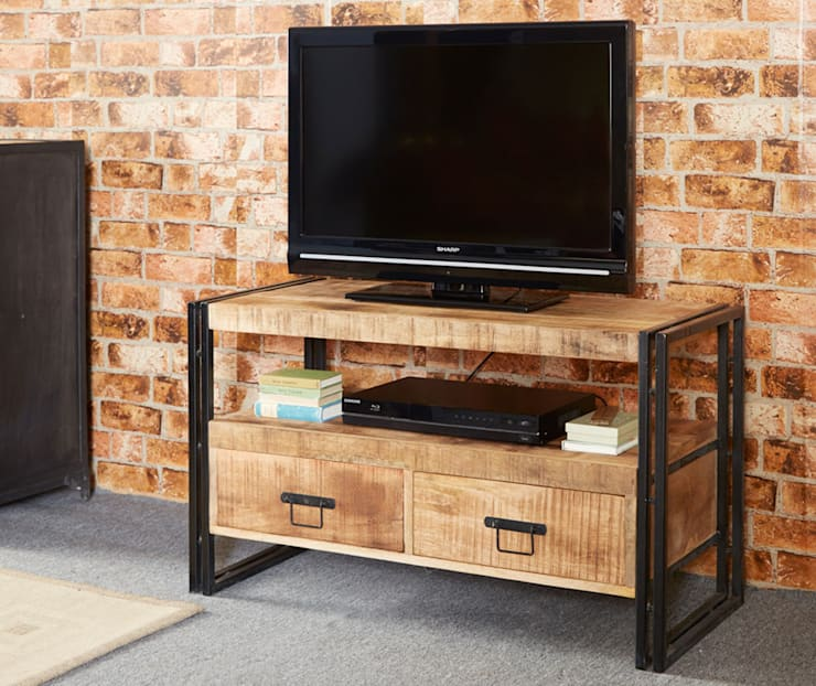 Cosmo Industrial TV Unit:  Living room by Industasia