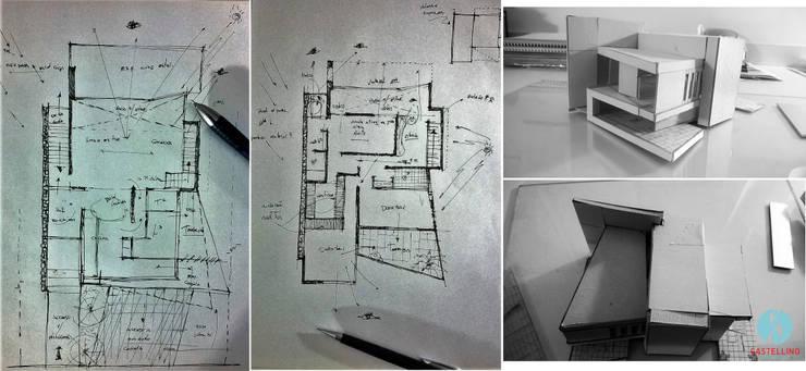 Croquis preliminares - Proceso de Diseño: Casas de estilo  por CASTELLINO ARQUITECTOS (+)