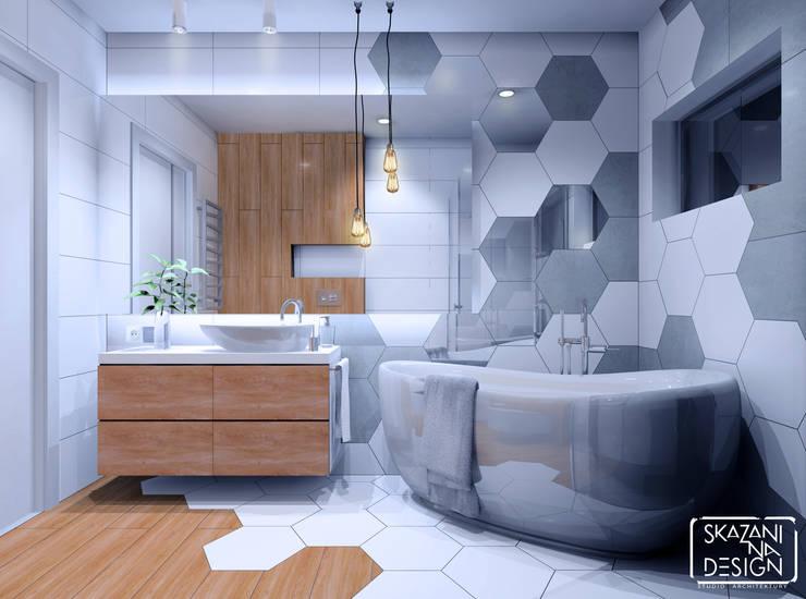WERSJA KOLORYSTYCZNA 1 z dodatkiem drewna: styl , w kategorii Łazienka zaprojektowany przez SKAZANI NA DESIGN Studio Architektury