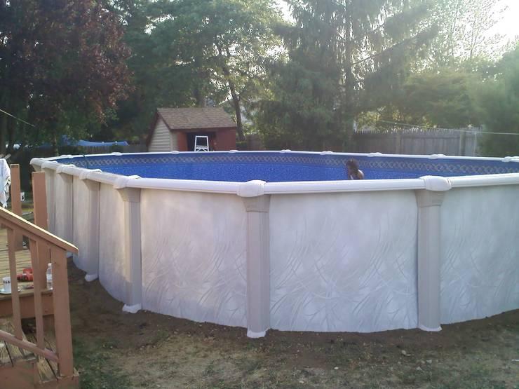 Abobe ground pool installation.:  de estilo  por Avel Benapi Services, dba, ABS Pool Patrol