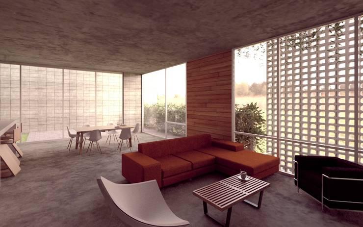 Casa Orta: Salas de estilo  por Lozano Arquitectos