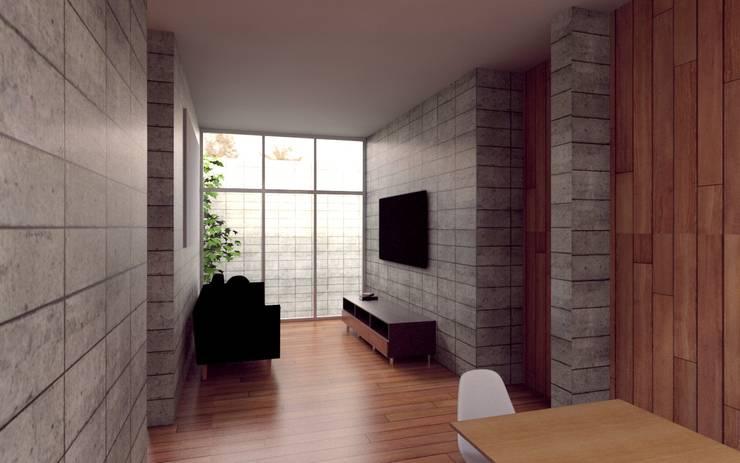 Casa Orta: Salas multimedia de estilo  por Lozano Arquitectos