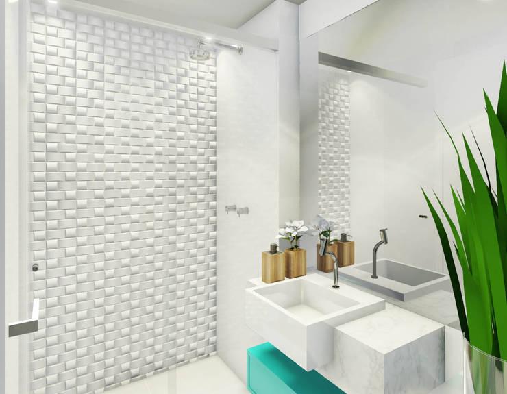 een badkamer design waarbij alle muren bedekt zijn met witte tegels resulteert in een lichte moderne look en gebruik een textuur om het wit te doorbreken