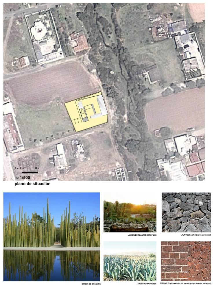 Planta de conjunto, paisajismo y paleta de materiales: Casas de estilo  por jesus rubio arquitectos