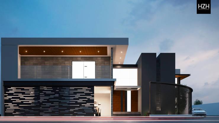 Diseño de fachada principal.: Casas de estilo  por HZH Arquitectura & Diseño
