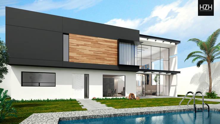 Diseño de fachada posterior.: Casas de estilo  por HZH Arquitectura & Diseño