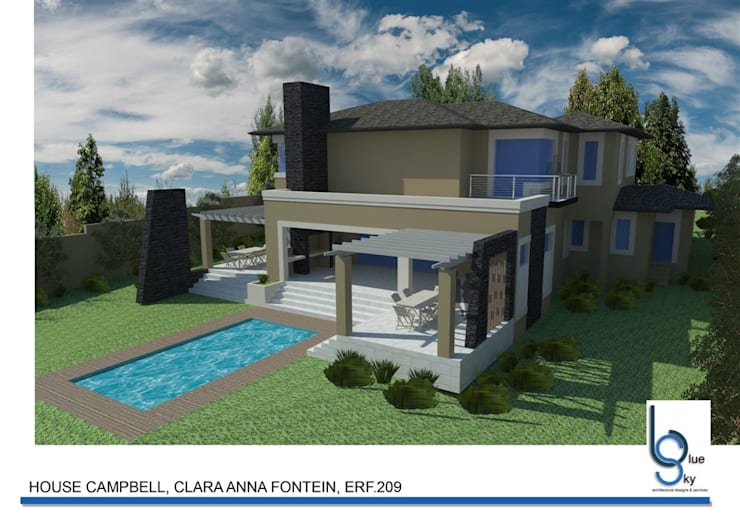 HOUSE CAMPBELL—DURBANVILLE, CLARA ANNA FONTEIN. New 515sqm house for this stunning estate.:   by BLUE SKY Architecture