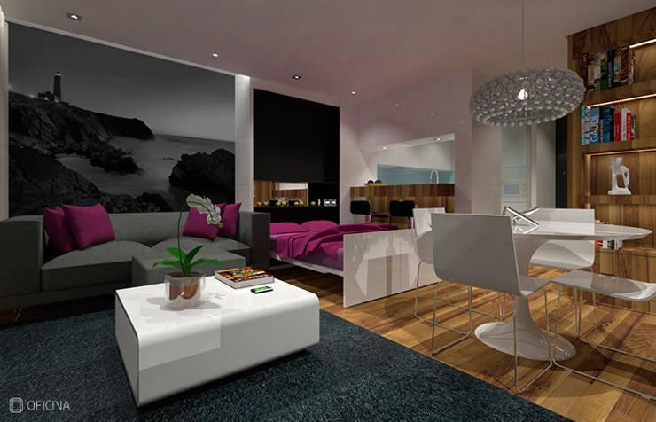 Apartamento T0 – São Pedro de Moel: Salas de estar  por OFICINA - COLECTIVO DE IDEIAS, LDA
