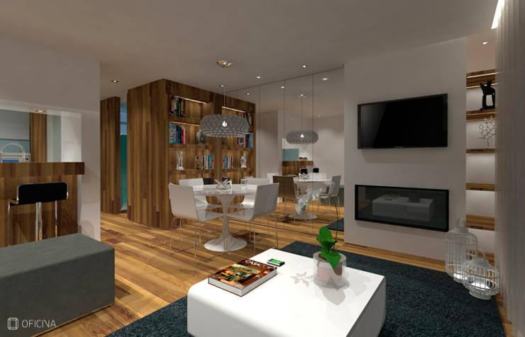 Apartamento T0 - São Pedro de Moel: Salas de estar  por OFICINA - COLECTIVO DE IDEIAS, LDA