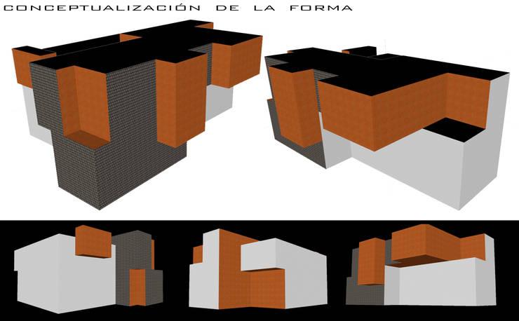 CONCEPTUALIZACION DE LA FORMA EN MATERIALIDADES: Casas de estilo  por GerSS Arquitectos