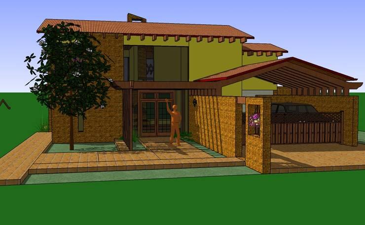 Vista fachada principal: Casas de estilo rural por ARMANDO PRIETO - ARQUITECTO