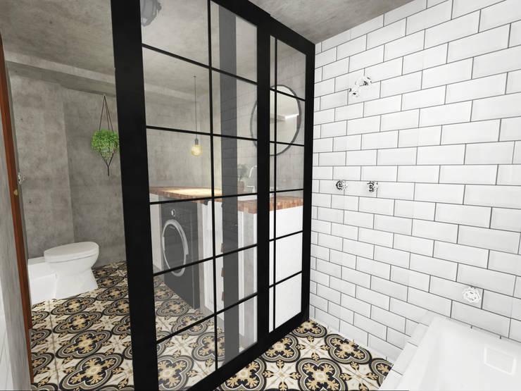 Banheiro Industrial Retrô: Banheiros  por Andressa Cobucci Estúdio