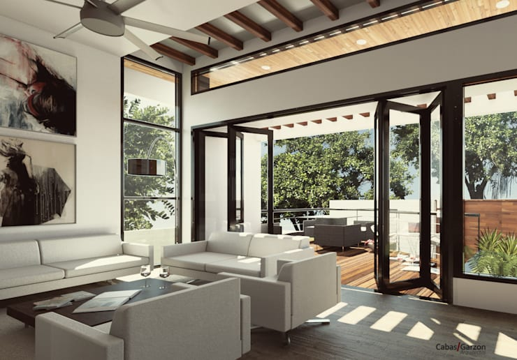 CASA IROTAMA: Salas de estilo  por Cabas/Garzon Arquitectos